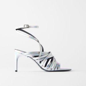 Zara Iridescent Strappy Stiletto Metallic Heels  6